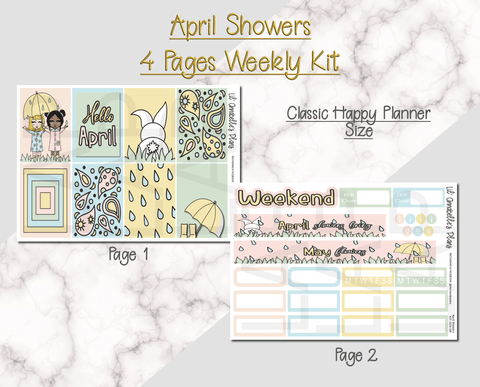 April Showers Weekly Kit (Classic Happy Planner and/or Erin Condren size) - Lil' Annabelle's Plans