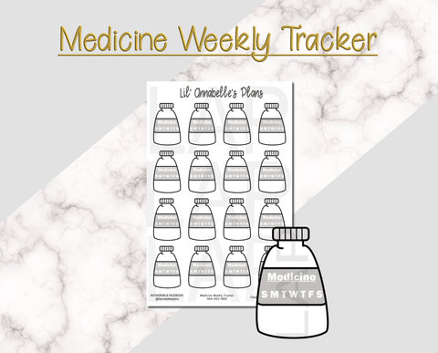 Medicine, Rx or Vitamins Weekly Tracker - Lil' Annabelle's Plans