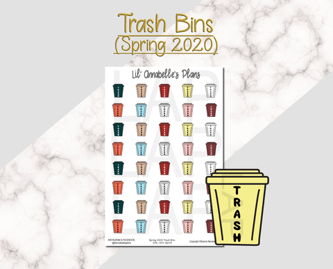 Trash Bins (Spring 2020 color pallet) - Lil' Annabelle's Plans