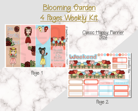 Blooming Garden Weekly Kit (Erin Condren and/or Classic Happy Planner size) - Lil' Annabelle's Plans