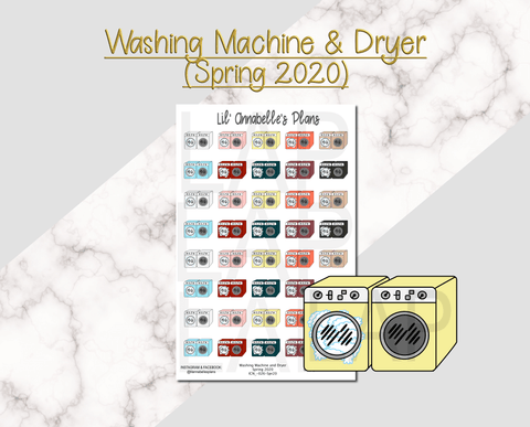 Washing Machine & Dryer (New Design, Spring 2020 color palette) - Lil' Annabelle's Plans