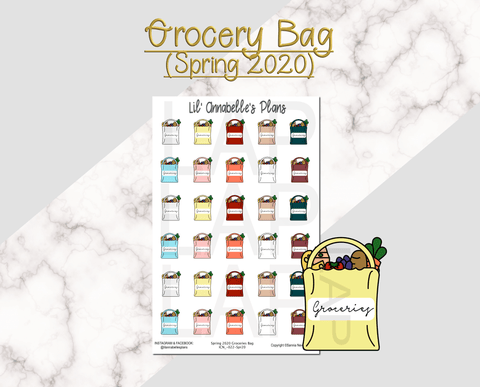 Grocery Bag (Spring 2020 color pallet) - Lil' Annabelle's Plans