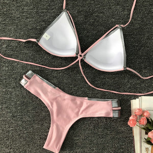 378d9d80754 Sexy String Thong Pink Bikini Set For Women with Halter 2 Pcs ...
