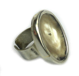 Adjustable Flat Silver Rim Ring . HRAF_231
