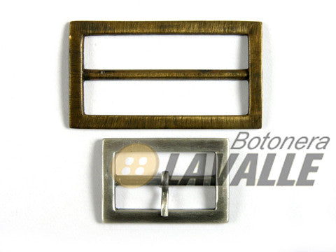 Buckle rectangular metal pewter  714