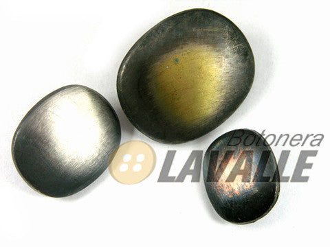 Button oval metal pewter  660