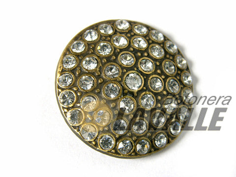 Button rhinestone metal pewter  673