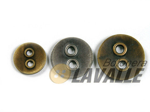 Button rounded holes grandes bronze silver 734