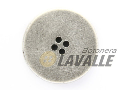 Button rounded metal pewter  polished 1091