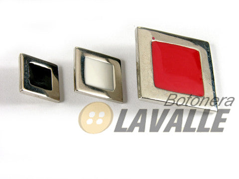 Button square enamel 617