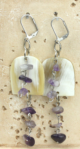 Horn earring combined with amethyst scales. NS-113