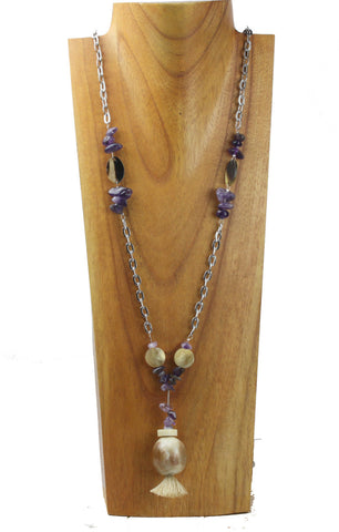 horn fashion necklace with amethyst