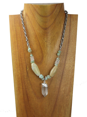 horn necklace with crystal charm