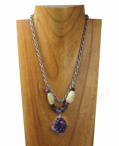 horn necklace with amethyst charm, and amethyst scales