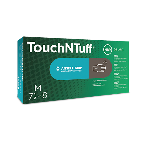 Ansell 92-575 TouchNTuff Nitrile Gloves with Textured Fingertips Powdered