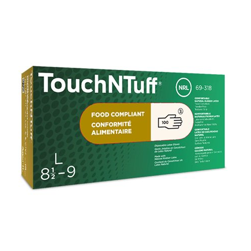 Ansell 69-318 TouchNTuff Latex Gloves Textured Fingers Powder Free