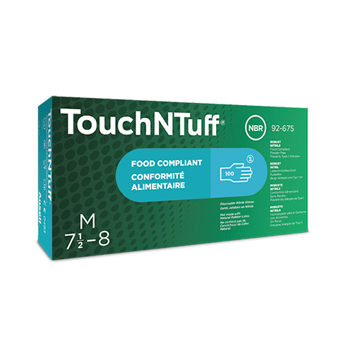 Ansell 92-675 TouchNTuff Nitrile Gloves with Textured Fingertips Powder Free