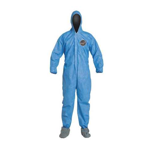 Dupont ProShield PB122SBU Blue Disposable Coveralls Hooded Boots Elastic Wrists and Ankles Case of 25