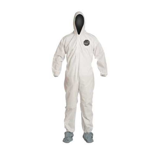 Dupont ProShield PB122SWH White Disposable Coveralls Hooded Boots Elastic Wrists and Ankles Case of 25