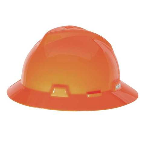 MSA 10021292 V-Gard Hi-Viz Orange Full Brim Hard Hat Fas-Trac III