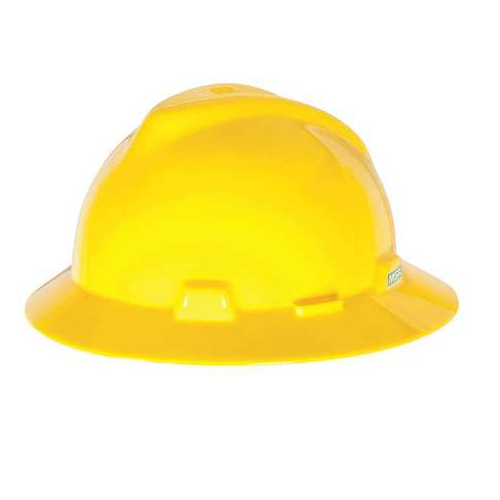 MSA 454730 V-Gard Yellow Full Brim Hard Hat Staz-On Pinlock