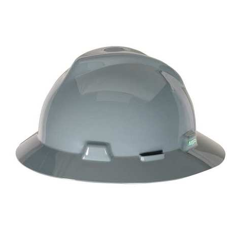 MSA 454731 V-Gard Gray Full Brim Hard Hat Staz-On Pinlock