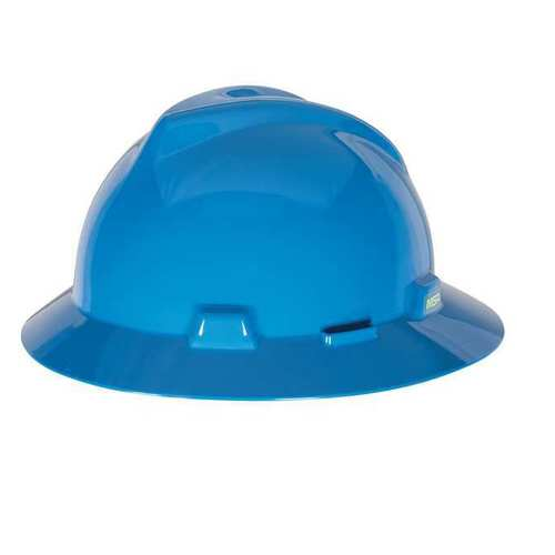 MSA 454732 V-Gard Blue Full Brim Hard Hat Staz-On Pinlock