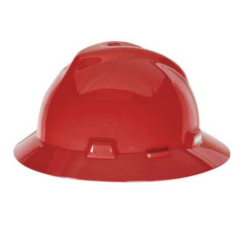 MSA 475371 V-Gard Red Full Brim Hard Hat Fas-Trac III
