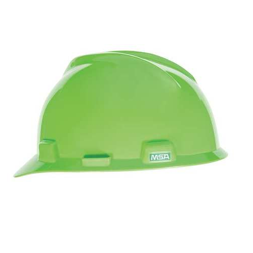 MSA 815565 V-Gard Bright Lime Green Hard Hat Fas-Trac III
