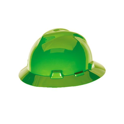 MSA 815570 V-Gard Bright Lime Green Full Brim Hard Hat Fas-Trac III