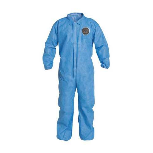 Dupont ProShield 10 PB125SBU Blue Disposable Coveralls Collar Elastic Wrists and Ankles Case of 25