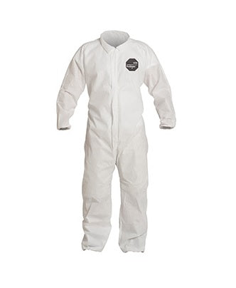 Dupont ProShield PB120SWH White Disposable Coveralls Collar Open Wrists and Ankles Case of 25
