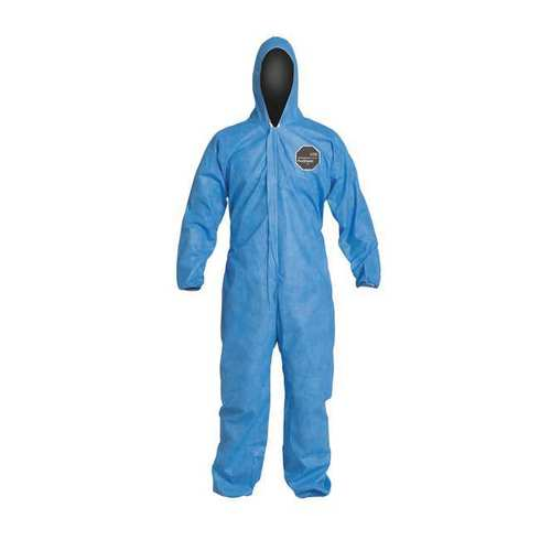 Dupont ProShield 10 PB127SBU Blue Disposable Coveralls Hooded Elastic Wrists and Ankles Case of 25