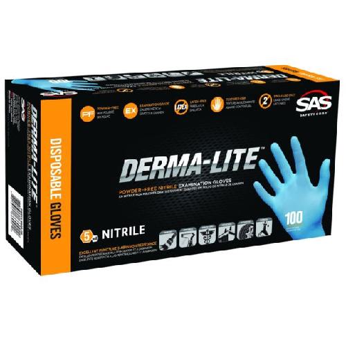 SAS Safety Derma-Lite Powder Free Nitrile Gloves
