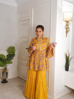 Load image into Gallery viewer, Actress Archana puran singh in our yellow printed sharara set Chhavvi Aggarwal