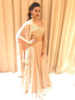 Load image into Gallery viewer, Actress Daisy Shah spotted in a banarasi lehenga with embroidered blouse and cape Chhavvi Aggarwal