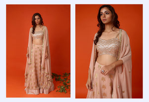 Actress Daisy Shah spotted in a banarasi lehenga with embroidered blouse and cape Chhavvi Aggarwal