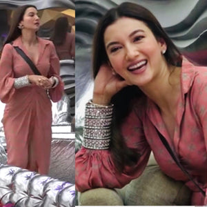 Actress Gauahar khan in our coral draped dress Chhavvi Aggarwal