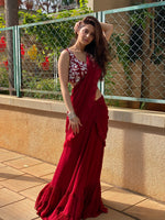 Load image into Gallery viewer, Actress Vedhika in a maroon stitched saree Chhavvi Aggarwal