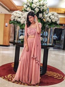 Ahana Kumra in a pink embroidered cape and palazzo set Chhavvi Aggarwal