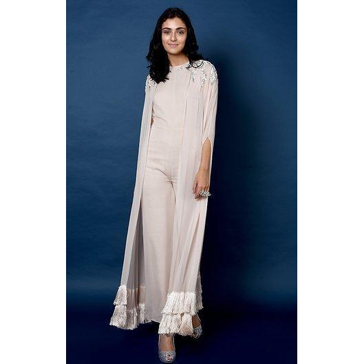 Beige jumpsuit with attached cape Chhavvi Aggarwal
