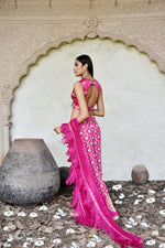 Load image into Gallery viewer, Benarasi pants with crop top and frill dupatta Chhavvi Aggarwal