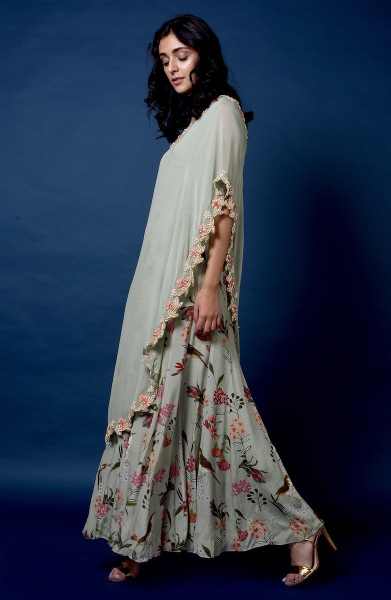 Bird print gown with embroidered cape Chhavvi Aggarwal