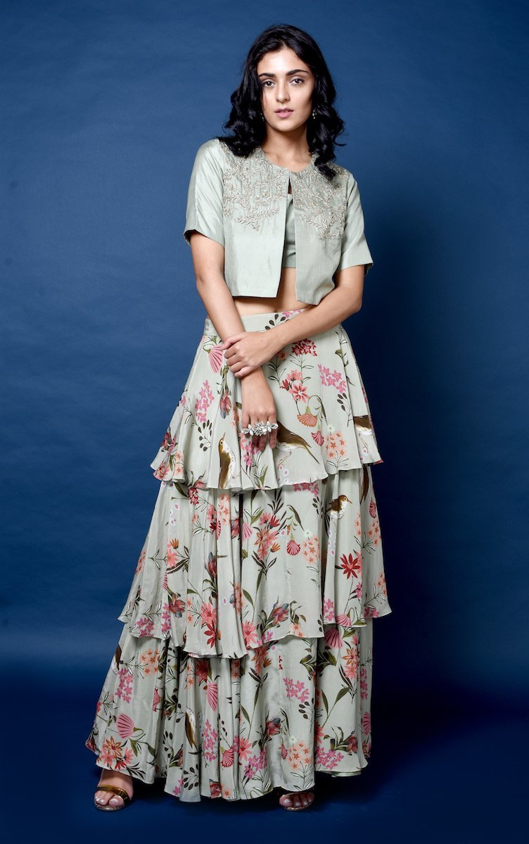 Bird print layered skirt with silk crop blouse and jacket Chhavvi Aggarwal