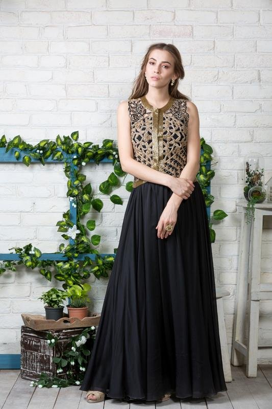 Black Anarkali with cutwork jacket Chhavvi Aggarwal