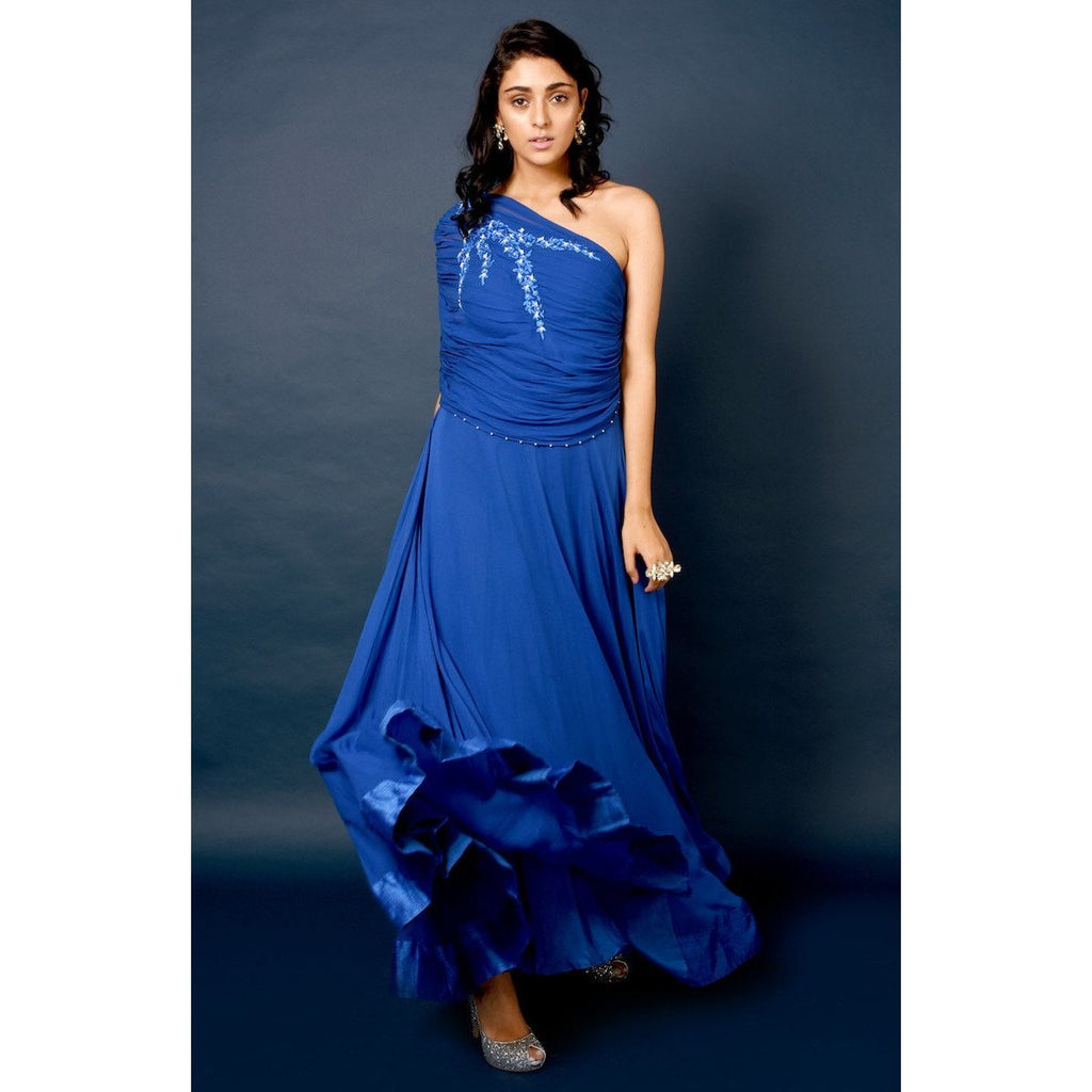 Blue one shoulder gown Chhavvi Aggarwal