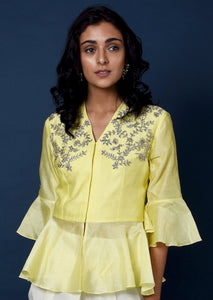Chanderi yellow top with white dhoti pants Chhavvi Aggarwal