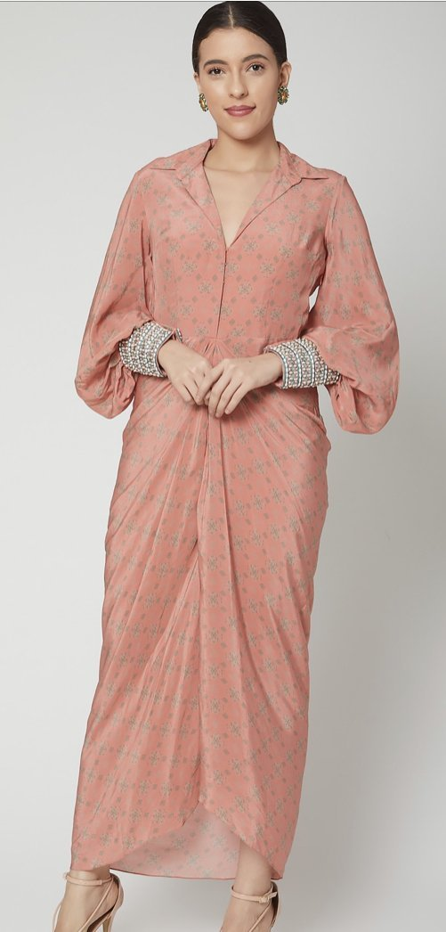 Coral draped printed dress with hand embroidered cuffs Chhavvi Aggarwal
