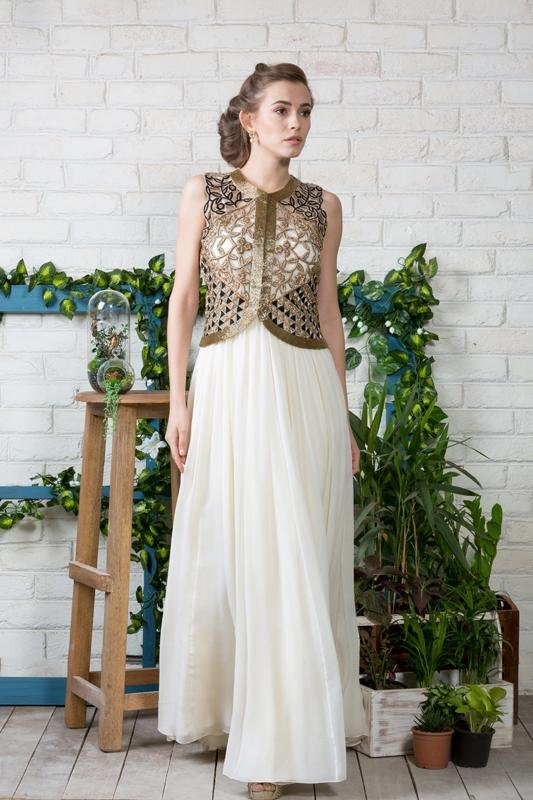 Cream Anarkali with Cutwork Embroidered Jacket Chhavvi Aggarwal