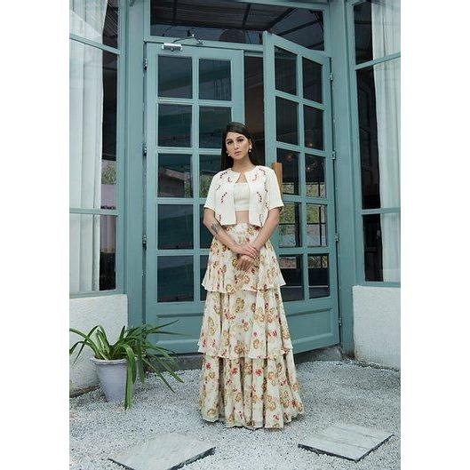 Cream printed layered skirt with crop top and jacket Chhavvi Aggarwal